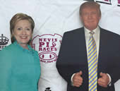 Lifesize cardboard figures of presidental candidates Clinton and Trump.